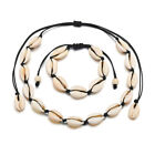 Adjustable Natural Cowrie Shell Sea Rope Choker Necklace Bracelet Set Diy Beach