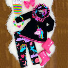 US Toddler Kid Baby Girl Unicorn Outfit Clothes T shirt Top Dress+Long Pants Set