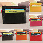 Womens Mens Leather Slim ID Credit Card Holder Case Purse Package Pocket Wallet image