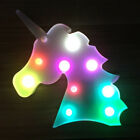 3D Colorful LED Night Light Unicorn Head Up Table Lamp Bedroom Xmas Decor Gifts