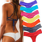 Qu HOT Brazilian Womens V Thong Cheeky Ruched Bikini Bottom Swimwear Beachwear