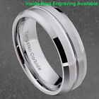 8mm Tungsten Carbide Grooved Center Beveled Edge Satin Top Men's Wedding Band image