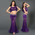 Women Lace Belly Dance Costumes Performance Club 2Pic Top Wrapped Fishtail Skirt