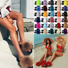100 Fox Fur Slippers Womens Fur Casual Slides Flat Shoes Plush Slipper Luxury