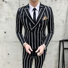 Black Striped Wedding Tuxedo Men's Suits Double-breasted Formal 2 pieces Suits