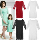 Family Matching Outfits Mother Daughter Clothes Women Girl Lace Party Dress US