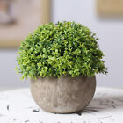 Artificial Plastic Mini Plants Fake Fresh Green Grass Flower Gray Pot Home Deco