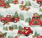 Red Trucks Home for Christmas Cotton Quilt Fabric Snow Tree Dog Springs Creative