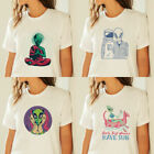 Funny Alien Short Sleeve T-shirt Crew Neck Casual Tee Women Summer Tops Shirts image