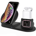 3in1 Qi Wireless Fast Charger Dock Stand For Apple Watch Airpods iPhone X Xs US