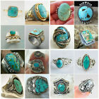 Wholesale Handmade Turquoise 925 Silver Ring Women Men Vintage Jewelry Size 5-12