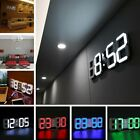 Modern Digital 3D White LED Wall Clock Alarm Clock Snooze 12/24 Hour USB ND