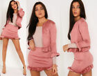 Women Jacket 2 Piece Co-Ord Suede Twinset Frill Ruffle Blazer Pencil Skirt Party