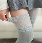 US Women Lace Knit Cotton Over Knee Thigh Stockings High Socks Pantyhose Tights