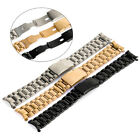 18/20/22/24mm Curved End Stainless Steel Solid Links Watch Band Strap Bracelet image
