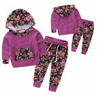 USA 2PCS Newborn Toddler Baby Girls Hooded Tops+Pants Set Kids Clothes Outfits