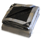 Strong, thick/ frost-proof tarpaulin/cover black /silver 260 g/m2