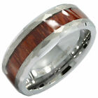 8mm Tungsten Carbide Koa Wood Inlay Hammered Inner Edge Wedding Ring