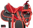 15 16 17 18 in Pro Barrel Saddle Trail Syntethic Red Western Horse Tack Set Pad