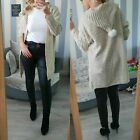 New Ladies Women's Knitted Hooded Pom Pom Long Cardigan Jacket Top