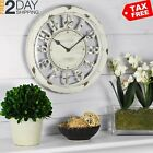 Distressed White Wall Clock Rustic Home Decor Beach Coastal Design Hanging New