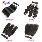 10A Brazilian Virgin Human Hair Bundles Straight Body Deep Curly Extensions Weft