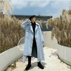 Mens Autumn Fashion Lapel Denim Windbreakers Youth Casual Loose Long Coats Blue