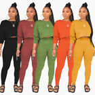 Women Long Sleeves Pockets Solid Color Bodycon Casual Jumpsuit Outfits 2pcs