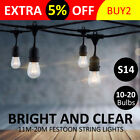 11m/20m S14 Warm Yellow Bulb Festoon String Lights Xmas Outdoor Party Hanging UK
