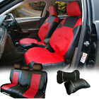 Car Seat Covers Leather Cushion Front Rear 2 Pillows to Dodge 53255 Bk/Red $69.95 USD on eBay