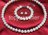 sets of 10-11mm south sea round white pearl necklac&earring bracelet 925s