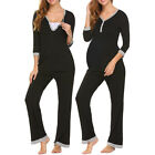 Pregnant Women 2PCS Nursing Nightwear Suit Top Long Pants Set Sleepwear Pajamas