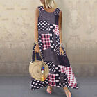 Women Sleeveless Holidray Beach Floral Patchwork Coacktail Party Maxi Long Dress