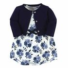 Touched By Nature Girl Organic Cotton Dress and Cardigan, Navy Floral