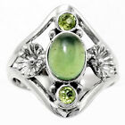 Nephrite Jade and Peridot 925 Sterling Silver Ring Jewelry s.6.5 SDR53953