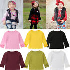 Toddler Baby Kids Girl Cotton Long Sleeve Solid Color Tee Tops T Shirt Clothes