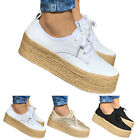 Women Lace Up Platform Flats Chunky Trainers Ladies Ankle Pumps Boat Shoes Size