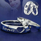 Men's Women's Forever Love Promise Band 925 Sterling Silver Plated Heart Cz Ring