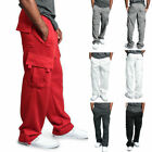 Mens Jogger Heavy Weight Fleece Cargo Pocket Sweat Pants Casual Baggy Trousers