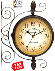 Puto Double Sided Wall Clock Wrought Iron 2 Faces Train Station Clock Antique Wa