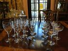 8 Wine Or 7 Champagne Coupes Butterfly Flower Decorated glasses, straight stem