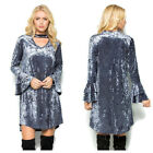 Boutique Ice Velvet Dress w/ Ruffle Sleeve Keyhole Neck Silver Grey S M L XL NEW