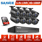 SANNCE Full 1080P HD Video 5in1 8CH Security DVR In/ Outdoor CCTV Camera System