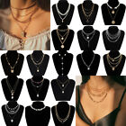 Women Girl Metal Multilayer Pearl Necklace Choker Clavicle Chain Pendant Jewelry