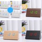 Wooden Alarm Clock LED Digital Time Temperature date Switch Silent Voice Control
