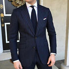 Men's Navy Blue Striped Suits Wedding Casual Dinner Groom Tuxedos Jackets Pants