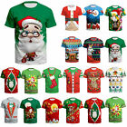 Christmas Tree Print Womens Mens Funny Casual 3D T-Shirt Short Sleeve Xmas Tee image