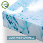 Blue Swirl 3''/4'' Memory Foam Mattress Topper Gel - Queen King Twin Full Soft  image