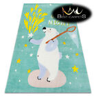 MODERN green thick & soft RUG for children 'PLAY' colorful Bear Stars Good night