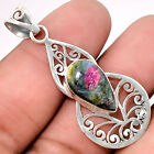 Ruby In Fuchsite - India 925 Sterling Silver Handmade Pendant Jewelry SDP40219